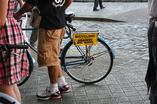 bicycling a quiet statement against oil wars